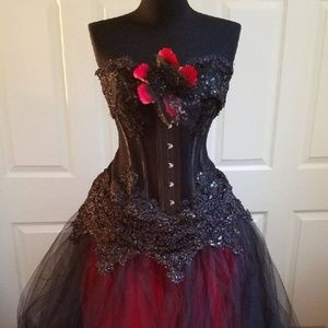 Lilith Goth Twilight Black Red Corset Ballgown Set